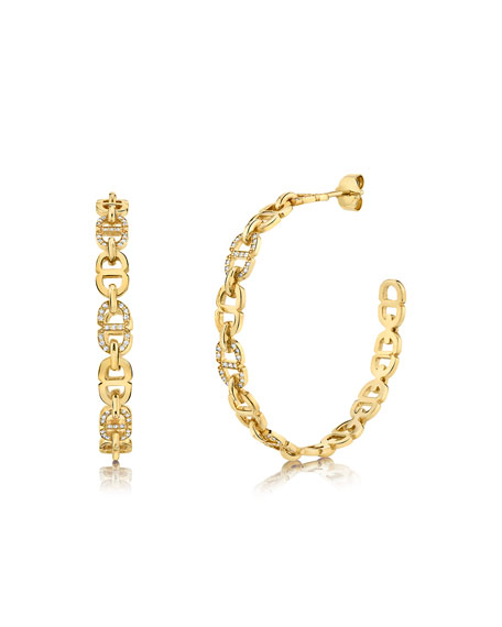 Sydney Evan 14k Diamond Love Chain-Link Hoop Earrings