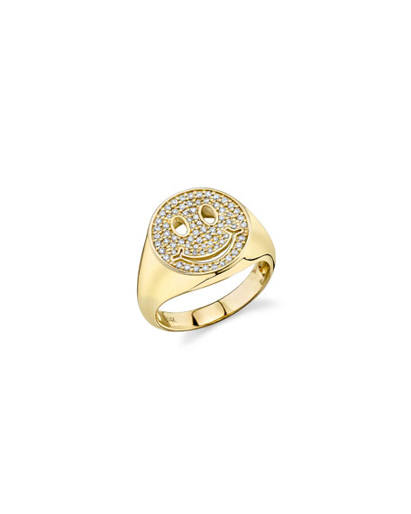 Sydney Evan 14k Diamond Happy Face Ring, Size 6.5