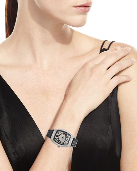 Image 2 of 4: Franck Muller Lady Vanguard Diamond Watch w/ Alligator Strap, Black