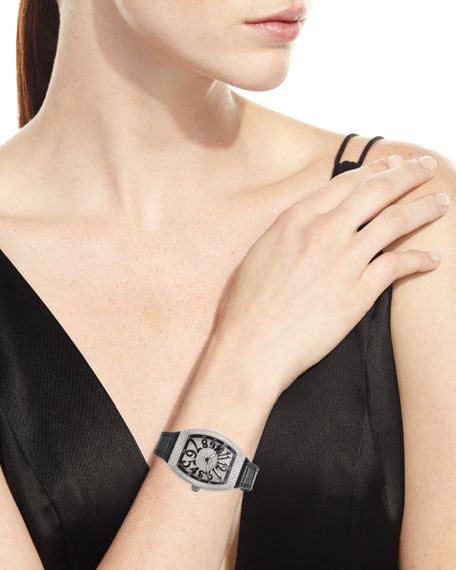 Image 4 of 4: Franck Muller Lady Vanguard Diamond Watch w/ Alligator Strap, Black
