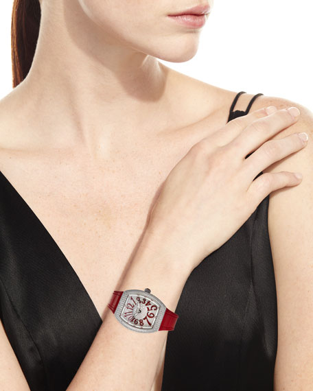 Image 2 of 4: Franck Muller Lady Vanguard Diamond Watch w/ Alligator Strap, Red