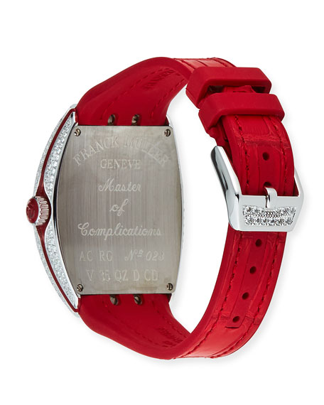 Image 3 of 4: Franck Muller Lady Vanguard Diamond Watch w/ Alligator Strap, Red