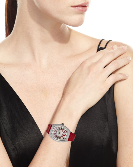 Image 4 of 4: Franck Muller Lady Vanguard Diamond Watch w/ Alligator Strap, Red