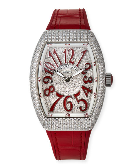 Image 1 of 4: Franck Muller Lady Vanguard Diamond Watch w/ Alligator Strap, Red