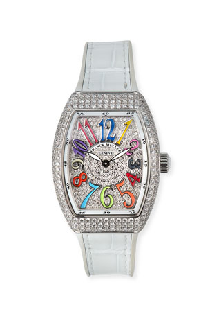 Franck Muller Vanguard 32mm Color Dreams All-Diamond Watch w/ Alligator Strap, White