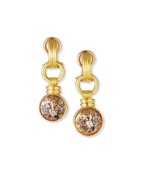 Elizabeth Locke 19k Double-Band Cheerio Bird Earrings