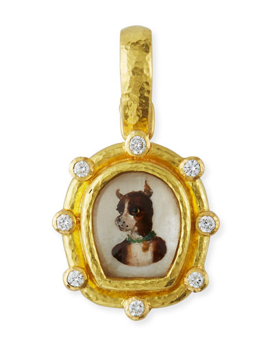 19k Essex Crystal & Diamond Dog Pendant