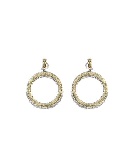 Nikos Koulis Feelings 18k Diamond-Trim Hoop-Drop Earrings
