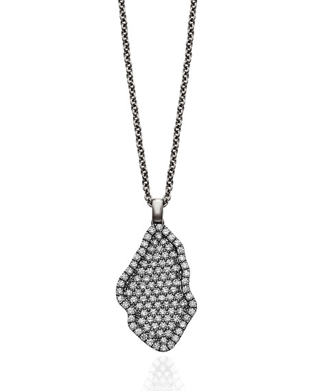 Kimberly McDonald Signature Pave Diamond Geode Inspired Pendant Necklace set in 18k White Gold