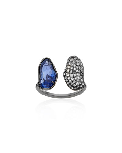 One-of-a-Kind Blue Sapphire/Diamond Pave Finger Cuff  Size 7
