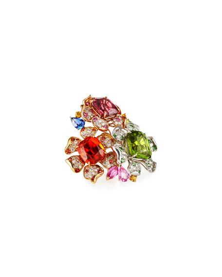 Margot McKinney Jewelry Multi-Stone 3-Flower Garden Ring