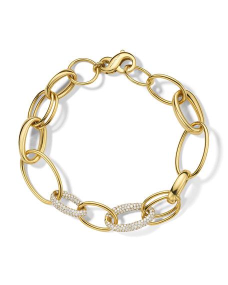Ippolita 18K Stardust Mixed Ovals & 2-Pave Link Bracelet, 2.10tcw