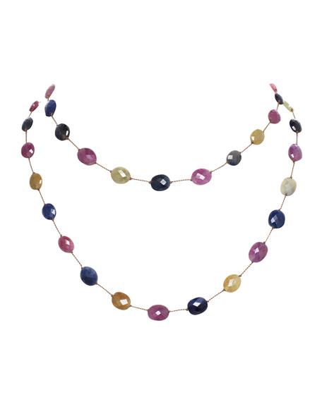"""Margo Morrison Long Multi-Sapphire Necklace, 35""""L"""