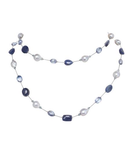 Margo Morrison Long Baroque Pearl, Sapphire & Quartz Necklace