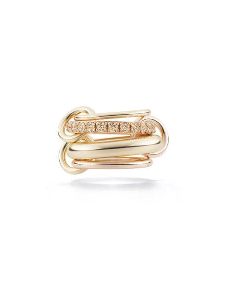 Spinelli Kilcollin 4-Link Yellow & Rose Gold Ring with Pave, Size 7