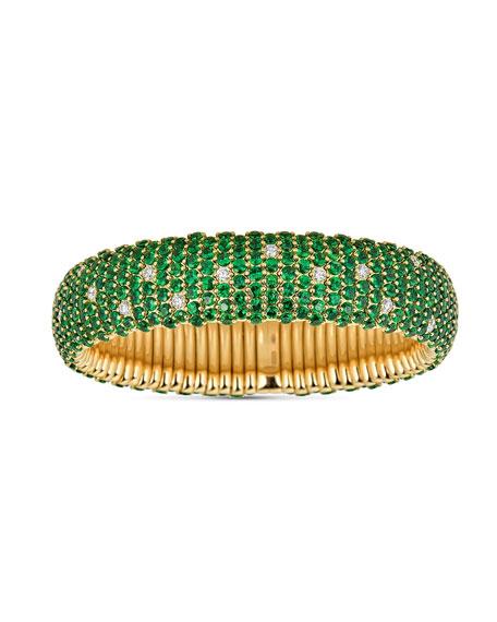 ZYDO 18k Tsavorite/Diamond Wide Stretch Bracelet