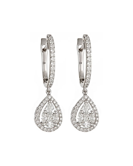 ZYDO 18k White Gold Diamond Huggie-Teardrop Earrings