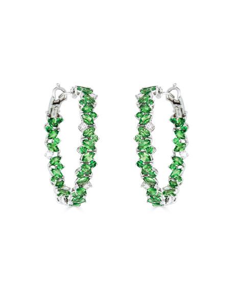 ZYDO 18k White Gold Tsavorite/Diamond Hoop Earrings