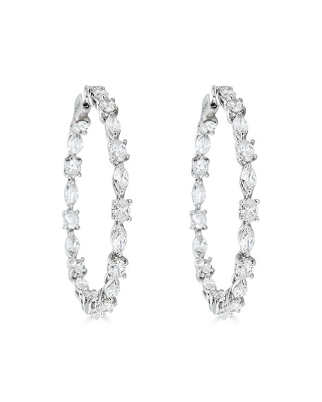 ZYDO 18k White Gold Mixed-Cut Diamond Hoop Earrings, 9.16tcw