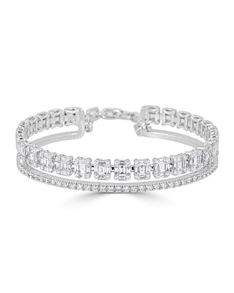 ZYDO 18k White Gold 2-Row Mixed-Cut Diamond Bracelet