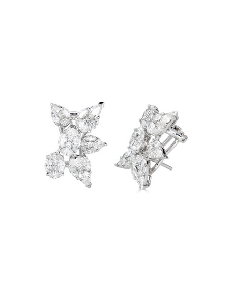 ZYDO 18k White Gold Multi-Diamond Stud Earrings, 3.69tcw