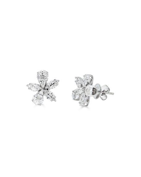ZYDO 18k White Gold Diamond Flower Stud Earrings, 1.81tcw