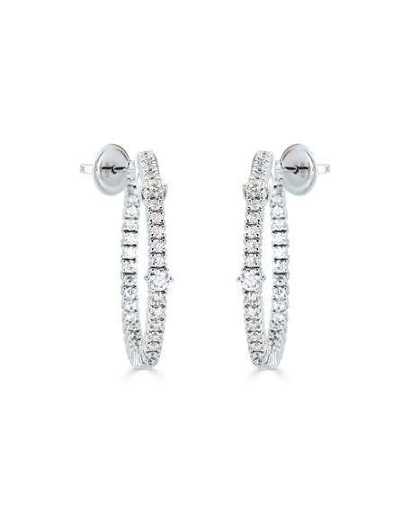 ZYDO 18k White Gold Diamond Hoop Earrings, 1.93tcw