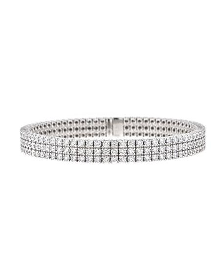 ZYDO 18k White Gold Diamond 3-Row Bracelet, 6.85tcw