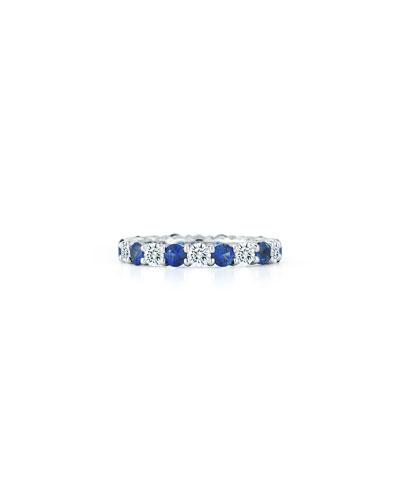 Platinum Diamond Blue Sapphire Eternity Ring