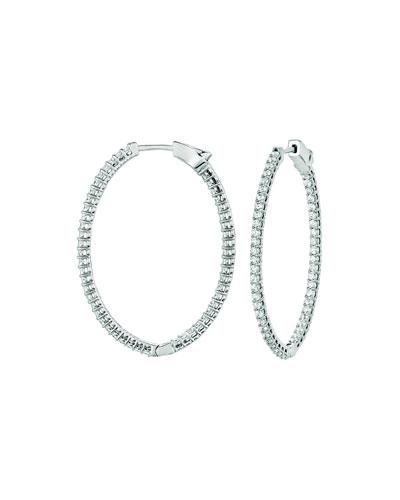 18k White Gold Diamond Hoop Earrings  1.5tcw