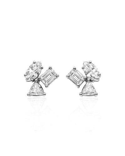 18k White Gold Irregular Diamond Cluster Earrings