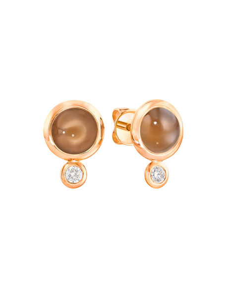 Tamara Comolli Bouton 18k Rose Gold Brown Moonstone/Diamond Post Earrings
