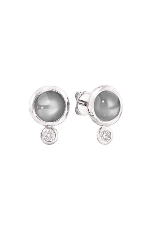 Tamara Comolli Bouton 18k White Gold Gray Moonstone/Diamond Post Earrings