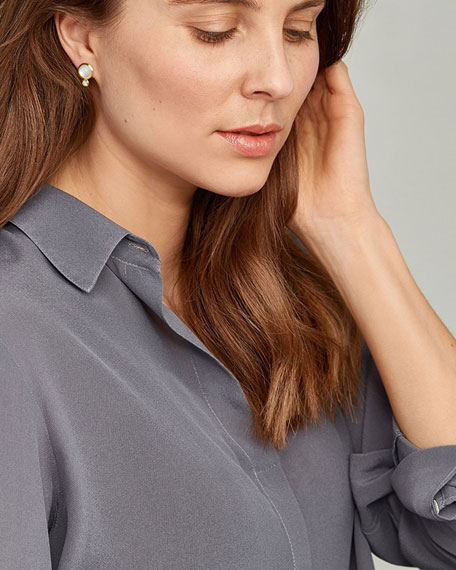 Tamara Comolli Bouton 18k Yellow Gold Sand Moonstone/Diamond Post Earrings