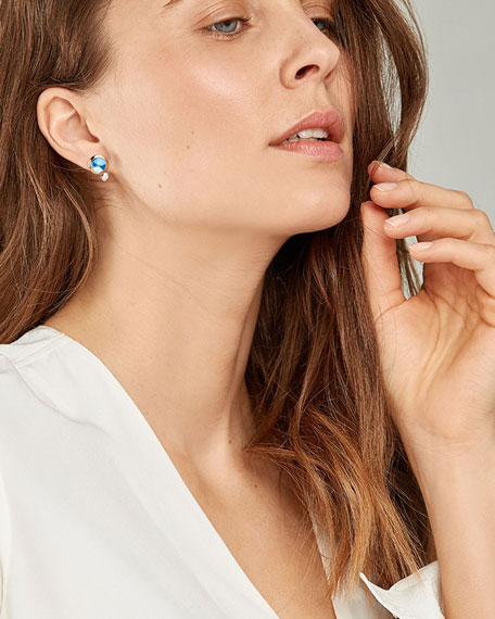 Tamara Comolli Bouton 18k Rose Gold Swiss Topaz/Diamond Post Earrings