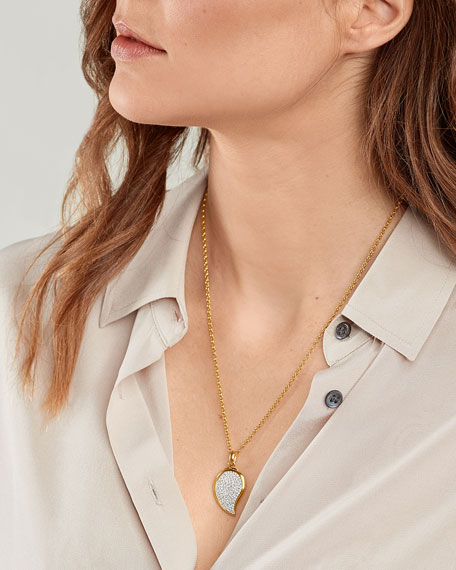 Tamara Comolli Signature Wave 18k Yellow Gold Small Pave Diamond Pendant