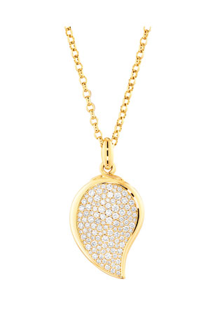 Tamara Comolli Signature Wave 18k Yellow Gold Small Pave Diamond Pendant