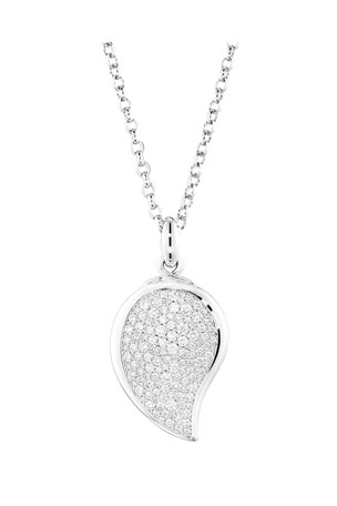 Tamara Comolli Signature Wave 18k White Gold Small Pave Diamond Pendant
