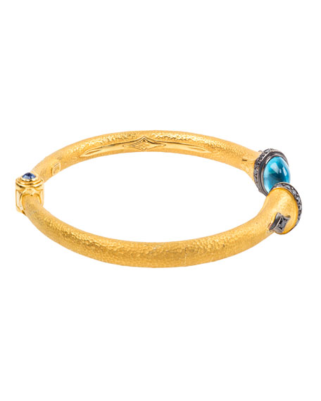 Konstantino 18k Swiss Blue Topaz & Black Diamond Bangle w/ Sapphire