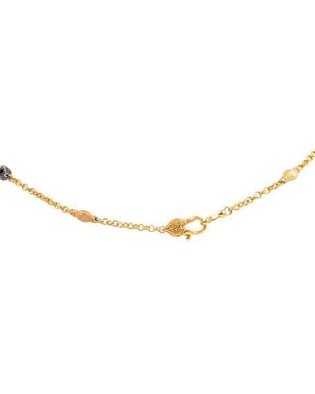 Konstantino 18k Swiss Blue Topaz Cross Necklace w/ Black Diamonds & Ruby