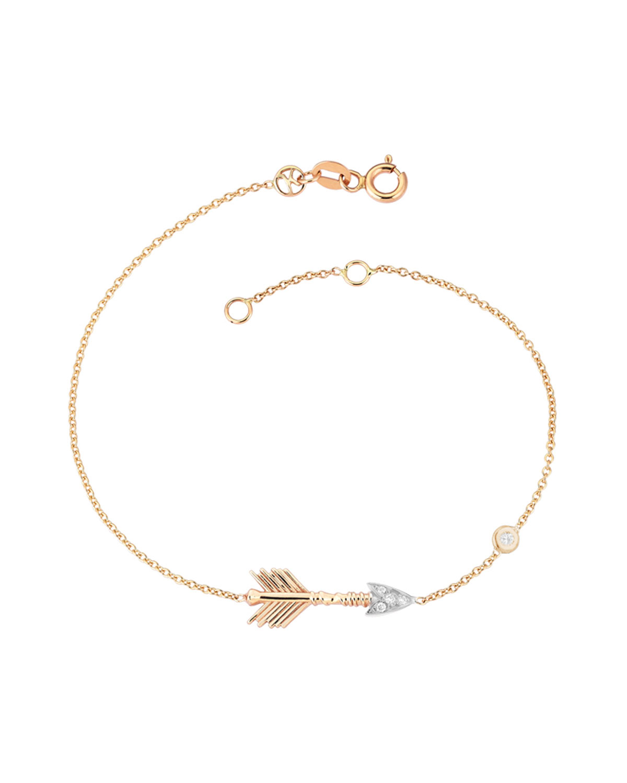 14k Rose Gold Arrow Bracelet In White Diamonds