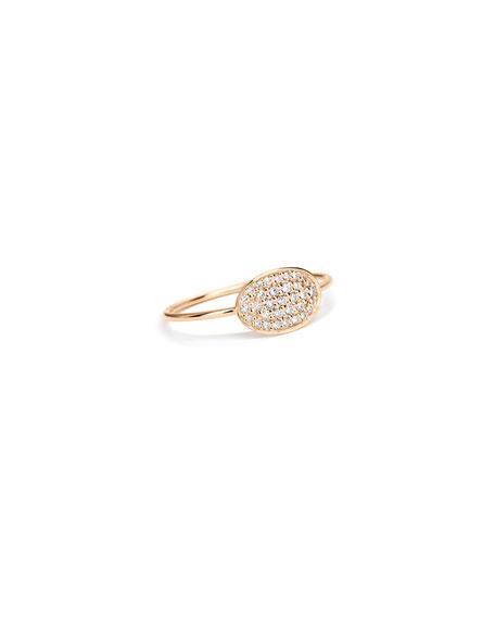 GINETTE NY 18k Rose Gold White Diamond Mini Sequin Ring, Size 7