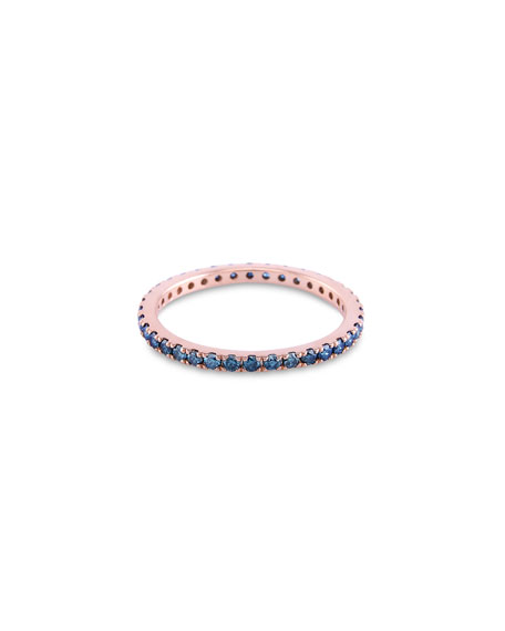 Image 1 of 4: Stevie Wren 14K Rose Gold Blue Diamond Eternity Ring, Size 7