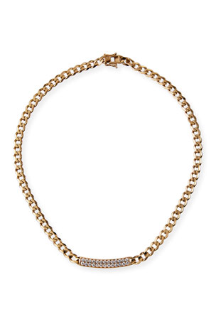 Sydney Evan 14k Pave ID Bar Necklace