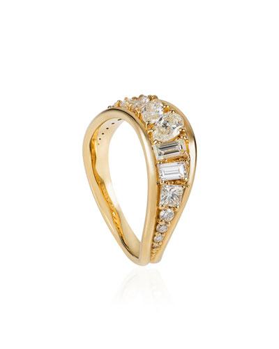 Stream Wave 18k Diamond Ring  Size 6.75