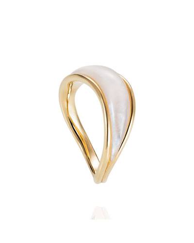 Stream Wave 18k Mother-of-Pearl Ring