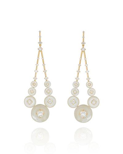 Gravity 18k Diamond Dangle Earrings in Mother-of-Pearl