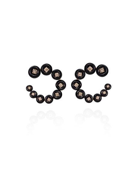 Fernando Jorge Small Circle 18k Rose Gold Diamond Earrings with Horn