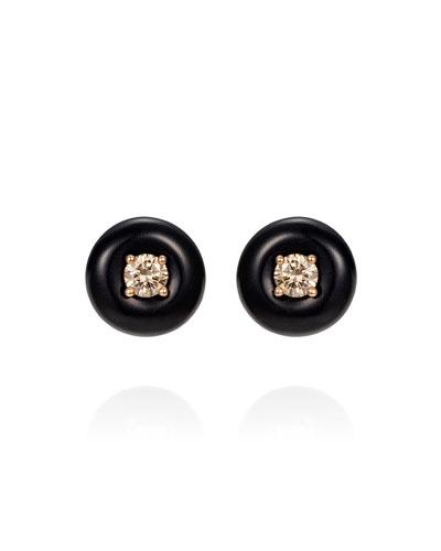 Orbit Medium 18k Diamond Stud Earrings with Horn