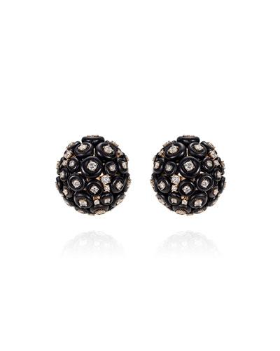 Surround 18k Rose Gold Diamond Cluster Stud Earrings